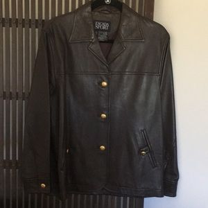 ESCADA SPORT Jackets & Coats - ESCADA SPORT dark brown leather jacket